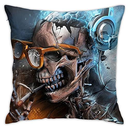 Funda de almohada cuadrada suave con diseño de calavera con gafas, diseño de calavera con gafas, para sofá, silla, coche, funda de almohada de 45,7 x 45,7 cm