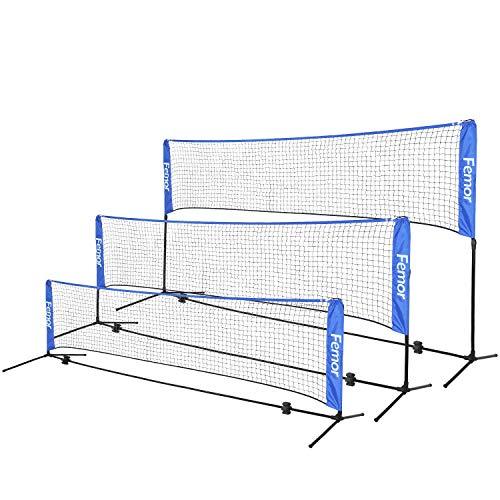 femor Portable Badminton Volleyball Tennis Net - 10/14/17 ft Net for Soccer Tennis, Pickleball, Kids Volleyball, Beach Ball - Sports Net with Poles & Carrying Bag for Indoor, Outdoor, Beach, Backyard