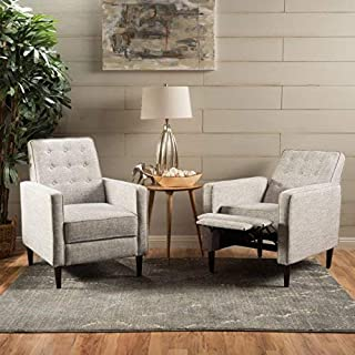 Christopher Knight Home Marston Mid Century Modern Fabric Recliner (Set of 2) (Light Grey Tweed)