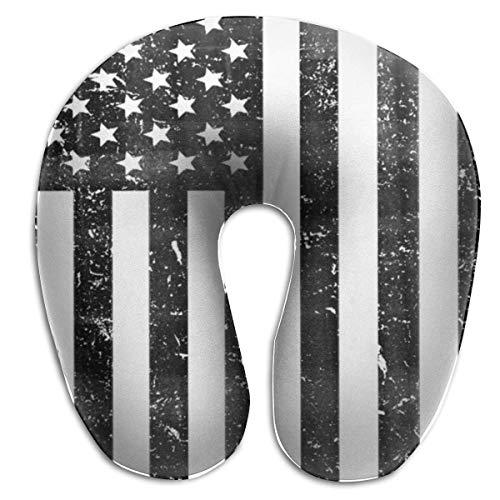 DJNGN Travel Pillow, Neck Cushion,Almohada de Viaje, Cojín para el Cuello, Almohada para el Cuello, Almohadas para el Cuello en Forma de U Retro con la Bandera de Estados Unidos, Almohada de Viaje de
