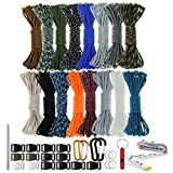 Paracord 550 Combo Crafting Kits - Survival Paracord Bracelet Rope Kits - Tent Rope Parachute Cord with Soft Tape Measure, Buckles, Carabiner, and Key Rings - Great Gift (SURVIVAL - 20FT/Each Color)