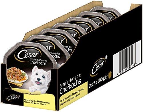Cesar hondenvoer natvoer aanbeveling van de chef-kok in verschillende smaakingen, 14 schalen (14 x 150 g), 14 Schalen (14 x 150g)