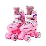QIANG Patines Ajustables Niña Principiantes Niños Niñas Flash Ruedas Dobles Zapatos De Patinaje Juego 3-13 Años De Edad,Pink-XS(26-29)