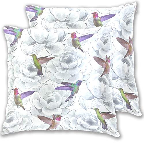 TIZORAX - Copricuscino quadrato decorativo, motivo: colibrì Aruba, 45,7 x 45,7 cm, confezione da 2