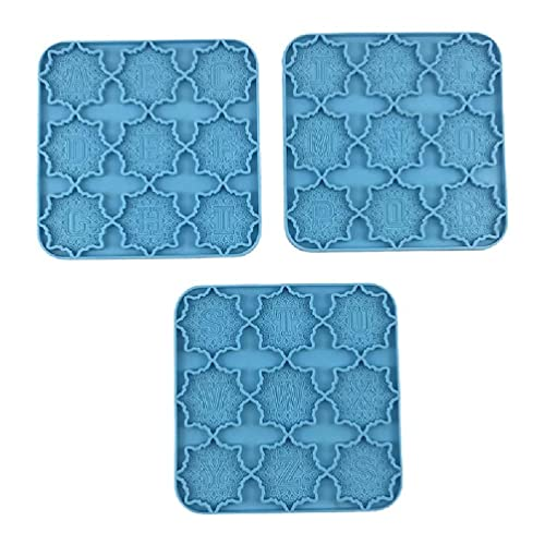 Abcidubxc Moldes de silicona, resina epoxi, 3 unidades, DIY mandala alfabeto, forma de resina epoxi, 26 letras, llavero, forma de silicona