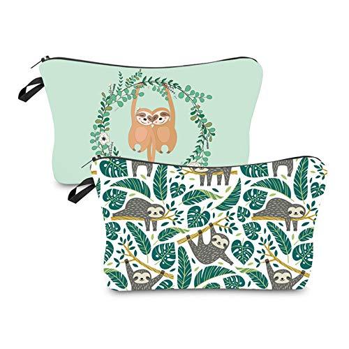 Gwotfy Kleine Kosmetiktasche für Handtasche, Kosmetiktasche für Damen und Frauen, tragbar, Faultier-Design, Kosmetiktasche, Faultier-Geschenke für Kinder, Mädchen, Schule, Bleistifttasche