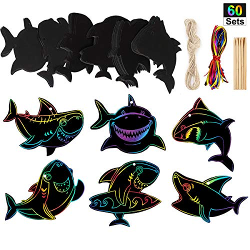 60 Set Shark Scratch Rainbow Tags Magic Scratch Rainbow Paper for Shark Birthday Party Supplies