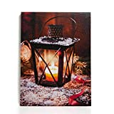 NIKKY HOME 16' x 12' Christmas LED Lighted Canvas Wall Art Prints Candle Lantern Holder Picture for Holiday Decor