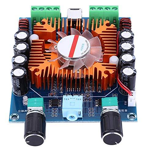 Audioversterkerbord voor auto, 2-poorts digitale audio-stereo + 2-poorts basversterker 4-kanaals printplaatklasse, TDA7850H Chip Ruisonderdrukking Gemakkelijk voor 10-inch luidspreker (DC12-14.4V)
