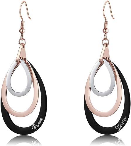 SaDiao Tricolor Boucles d'oreilles cercle plaqué or rose, boucles d'oreilles en argent 925 hypoallergénique, boucles ...