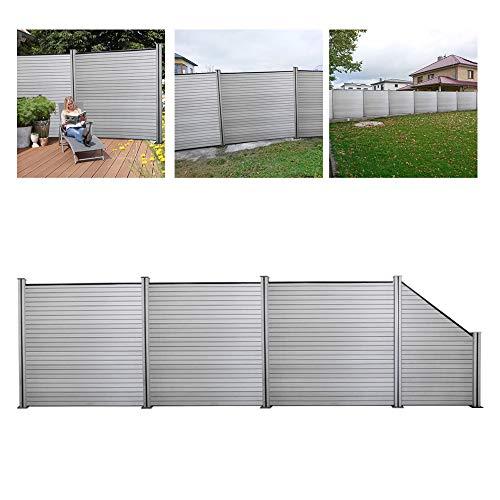 wolketon WPC Garten Zaun Aluminium Sichtschutz Komplettset Höhe 185 cm, Grau Sichtschutzzaun Wetterfest, 1x Schräg und 3X Quadratisch