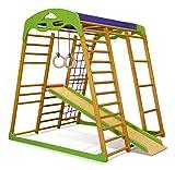 Kinder zu Hause aus Holz Spielplatz mit Rutschbahn ˝Karamelček˝ Kletternetz Ringe Kletterwand !Zertifikat!