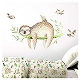 Little Deco DL206-24 - Adhesivo decorativo para pared, diseño de perezoso sobre rama y pájaros, 134 x 62 cm (ancho x alto)