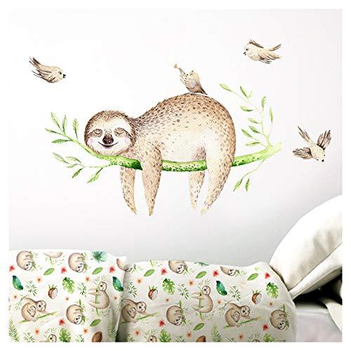 Little Deco Wandaufkleber Kinderzimmer Faultier auf AST & Vögel I 134 x 62 cm (BxH) I Wandsticker Wandbilder Kinder Wandtattoo Babyzimmer Junge DL206-24