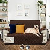 Utopia Bedding Funda de Sofá - 2 Plazas - Protector para Sofás Reversible - Funda Cubre Sofá para Mascotas - (2 Plazas, Marrón/Beige) [No para Sofás de Piel]