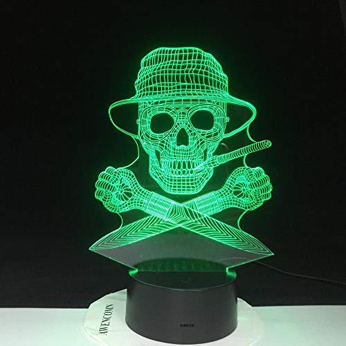 3D Nachtlicht LED Nachtlicht 3D Hunter Gonzo Journalismus Berührungssensor Schädel Mann für Büro Dekor Lampe-mit_A_Controller