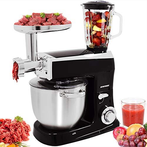 Syntrox Germany 1500 Watt Küchenmaschine Knetmaschine Mixer mit Fleischwolf, Edelstahl-Behälter, 7,5 Liter, schwarz