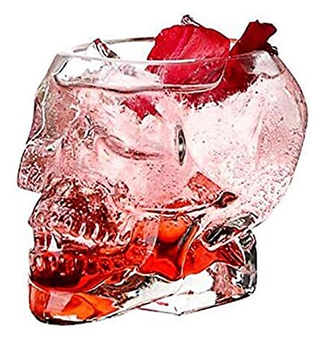 Whiskey decanter 4PCS Skull Glass Double Wall Shot Whisky Wine Crystal Bottle Cup Skull Head Cup Mug Transparent Wine Drinking Cups Gift for Men 80Ml 150Ml 300Ml,80ml whiskey set (Size : 80ml)
