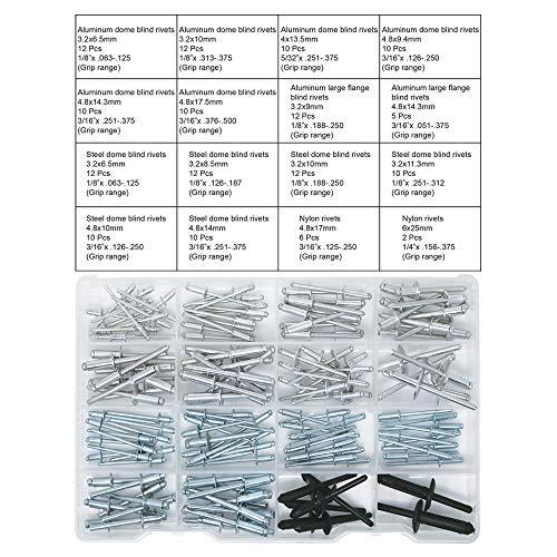 T.K.Excellent Blind Rivets Kit surtido de remaches de múltiples tamaños, 155 piezas