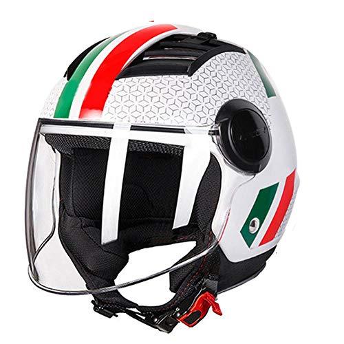 XYBB Casco Bicicleta Airflow Casco de Motocicleta 3/4 Cara Abierta Verano Jet Scooter Media Cara Casco de Moto XXL Bandera Italiana