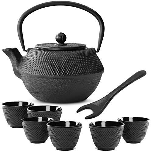 Bredemeijer theepot in kleine zwarte Aziatische gietijzer, 1,1 liter, set met thee-filterzeef, theebeker (6 kopjes) & deksellifter
