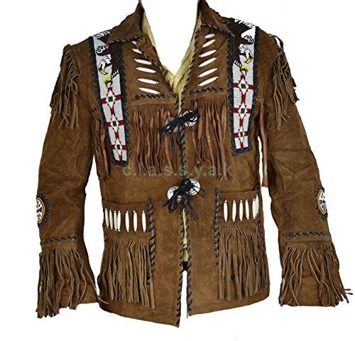 Classyak Cowboy Wesernt Leather Jacket Beaded, Bones & Fringes, Quality, Xs-5xl (X-Large, White Beads)