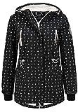 Sublevel Damen Softshell-Jacke Kurzmantel mit Kapuze & Print Black M