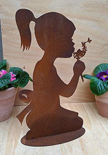 terracotta-toepfe-de Rost Figur Mädchen mit Pusteblume Höhe ca. 36, Metall Edelrost Gartendeko, Skulptur