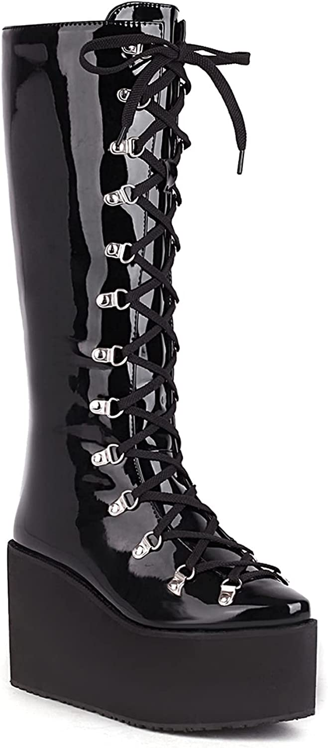 WETKISS Women's Mid Calf Goth Boots Thick Platform Chunky High Heel Booties Lace Up Patent Leather Fashion Shoes