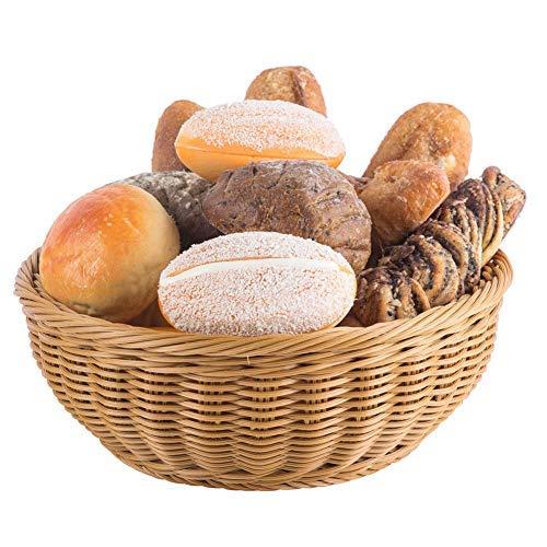 8.5' Poly-Wicker Bread Basket, Woven Polypropylene Tabletop Food Fruit Vegetables Serving Basket Set of 2, Restaurant Serving, Honey Brown