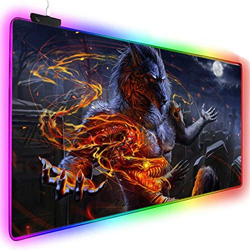 Mouse Pads Fashion Personality Werewolf Gaming RGB Mouse Pad Large Led Fashion Glow Big Mice Mat for Mac Pc Laptop Rubber Base Mouse Mat (11.8X31.5) Inch