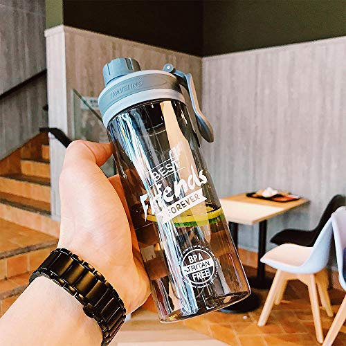 XIXISA Botella Deportiva de Calabaza para Gimnasio al Aire Libre, agitador de proteínas de 650 ML, Frasco hidráulico de plástico Tritan, Botellas de Agua con Sello a Prueba de Fugas-C