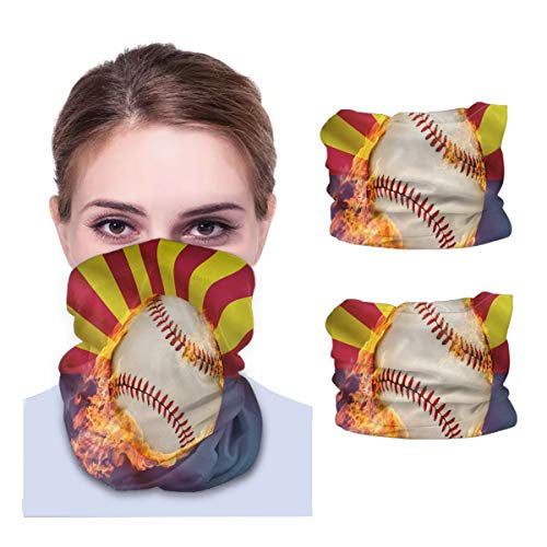 SLHFPX Sprots Baseball Series - Arizona Neck Gaiter Face Mask Set of 2 Bandana Anti-Dust Marks Windproof Neck Warmer for Outdoor Sports