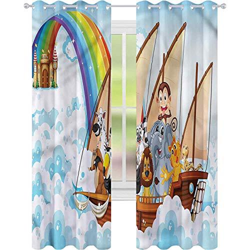 Cortina de ventana infantil Noahs Ark in Clouds W52 x L72 Cortinas para sala de estar
