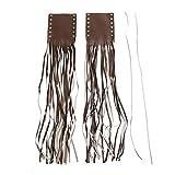 Cubierta de agarre de flecos, embrague de cuero artificial Palanca de freno Cubierta de flecos para agarre de manillar de moto(marrón)