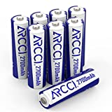 Rechargeable AA Batteries Recharged Double A Battery Without Memory Effect 2700mAh High Capacity Precharged NiMH Battery Pack AA Size for Household Devices, 8 Counts