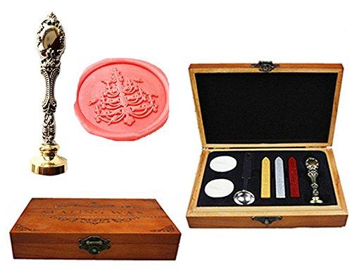 MNYR Kandelaar Luxe Houten Doos Brons Metalen Pauw Bruiloft Uitnodigingen Gift Kaarten Papier Stationaire Envelop Seals Aangepaste Logo Wax Seal Sealing Stamp Wax Sticks Smelten Lepel Hout Gift Box Kit ZILVER