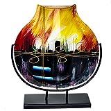 Benjamin Art Jarrón de cristal de Murano, decorativo, con soporte, 34,5 cm, multicolor
