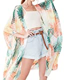 casuress Women's Sheer Chiffon Blouse Tops Kimono Cardigan Floral Loose Cover Ups Outwear Plus Size (XXX-Large, Type 13)