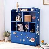 Emall Life Kinder-Bücherregal und Aufbewahrung, Kinder-Bücherregal, für Bücher, Spielzeug, Organizer für Jungen und Mädchen 98 * 24 * 119.5cm (blau)