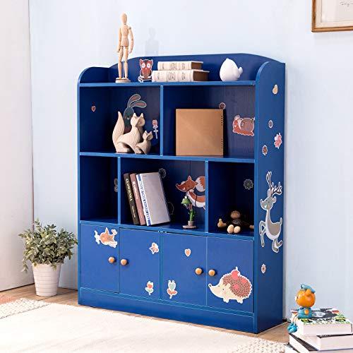 Emall Life Kids Boekenplank en Opslag, Kinderen Boekenkasten Weergeven Boeken Speelgoed Organizer Rek Eenheid voor Jongens en Meisjes 98 * 24 * 119.5cm Blauw