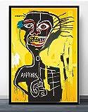 MJKLU RoadsterBlack Braid Boy Fondo Amarillo Arte Urbano Graffiti Lienzo Pintura póster e impresión Mural Usado para Decorar la habitación de los niños decoración del hogar 50X65CM