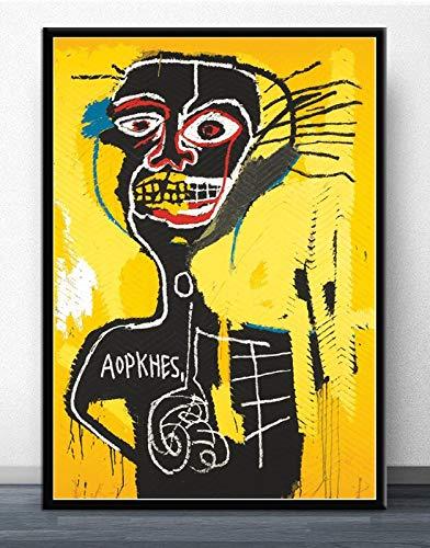 MJKLU LineBlack Trenza Chico Amarillo Fondo Arte Urbano Graffiti Lienzo Pintura Cartel y Mural Impreso Usado para Decorar la habitación de los niños decoración del hogar 65X85CM