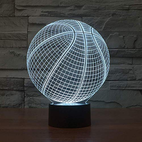 HYCy Unitake - Balón de baloncesto 3D, efecto visual, luz nocturna con Smart Touch Switch USB, decoración creativa, 7 colores brillantes