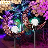 YUNLIGHTS 2pack Garden Solar Lights, Moon Crackle Glass Globe Outdoor Solar Lights, IP64 Waterproof Solar Powered Garden Stake Lights for Garden Patio Backyard Pathway Decoration, White