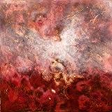Luca Bonfanti Impresión artística sobre lienzo HD pintura cuadro arte moderno abstracto, 70 x 70 cm, génesis rojo