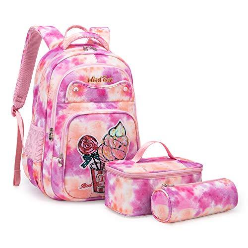 Wind Took 3-TLG Kinderrucksack Schulrucksack Schultasche Teenager Rucksack Backpack Mädchen Jungen Kinder Schultaschen-Sets mit Brotdose und Federmäppchen Korallenpulver