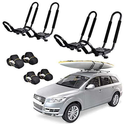 ZOVOTA Juego de 2 barras de techo para kayak, barra J con correas, soporte plegable para coche doble para canoa, SUP, tabla de surf, tabla de esquí, montaje en la azotea en travesaño, SUV, camión