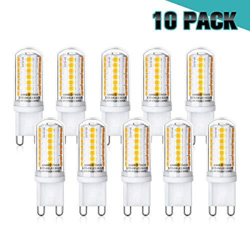 AMBOTHER G9 LED Lampen, 4W 450LM Warmweiß 45x 2835SMD LED statt 40W Halogenlampen, G9 LED Birne Leuchtmittel Glühbirnen, Kein Flackern Nicht Dimmbar AC 220-240V, 10er Pack