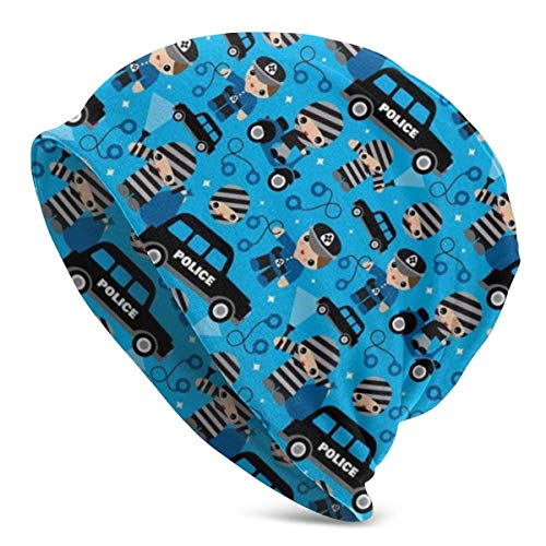 hdyefe Thiefs Cobs and Robbers Police Theme Beanie Men Women Unisex Soft Cuffed Plain Skull Knit Hat Cap Daily Knit Beanie